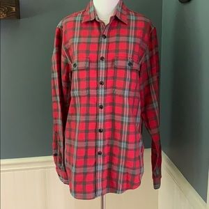 J Crew 100% Cotton Red Plaid Flannel Shirt Small
